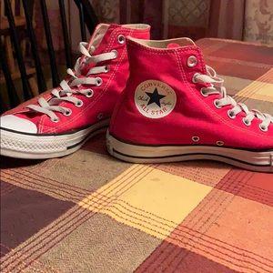 Super cute retro red high top converse!